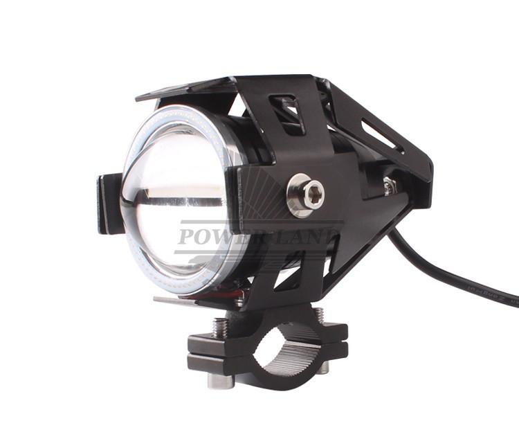 1X Motorcycle LED Halo Angel Eye Red Headlight Hi-Low Beam Fog Spot Light Lamp