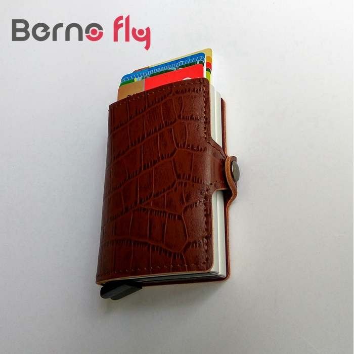 Casual Slim Mini RFID Men Wallets Alligator grain Genuine leather wallets Double Aluminum Credit Card Protector