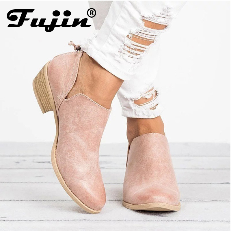 Fujin Spring Autumn Women Butterfly knot Chelsea Boots Zipper High Heels Pointed Toe Shoes Woman Ankle Boots Female Winter Boots
