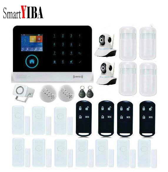 SmartYIBA Wireless GSM Home Alarm System Android iOS APP with Touch Screen Wireless Window/Door Entry Camera For Security Alarm 8218g wireless gsm pstn home alarm system android ios app with touch screen backup lithium english