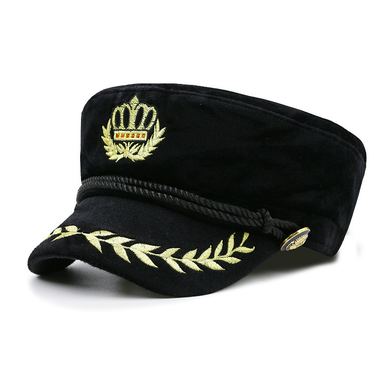 Beckyruiwu Male Winter Yacht Boat Captain Fleece Navy Cap Vintage Sailor Hat  Cadet Baseball Cap Wheat Flat Army Hat Men Women-in Baseball Caps from  Apparel ... c413c2ac2a1