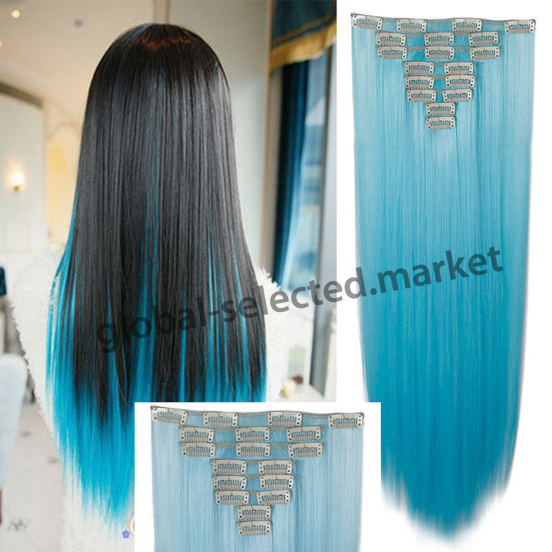 Aliexpress buy 8pcsset 26 66cm long mega straight full aliexpress buy 8pcsset 26 66cm long mega straight full head clip in hair extensions black brown blonde red ombre hair piece 18clips on from reliable pmusecretfo Images
