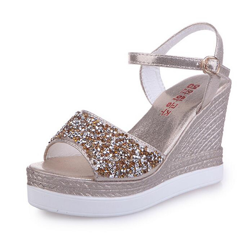 Women's shoes 2017 brand summer new high-heeled women's sandals waterproof platform diamond slope with thick sandals 12cm 2017 summer new slope with sandals female fish head high heeled waterproof platform thick bottom shoes cll 3259
