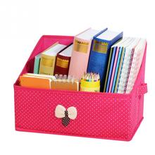 1pcs non-woven fabrics Bowknot desktop storage box bookcase student book magazine desktop storage box