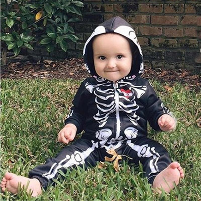 Baby Halloween Costumes for Kids Skull Skeleton Baby Rompers Hooded Newborn Clothes for Boys Girls Jumpsuit Toddler Clothing XV3