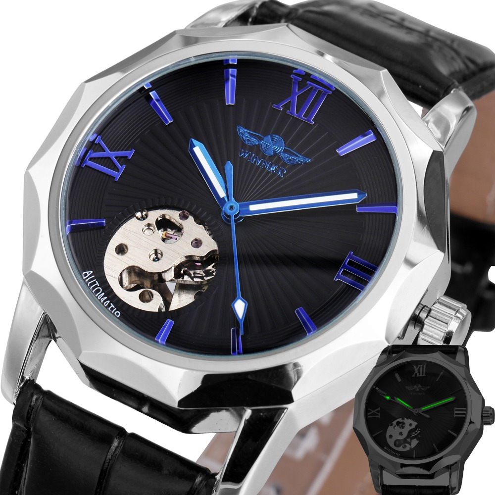 WINNER Men Automatic Mechanical Watch Blue Ocean Geometry Design Transparent Skeleton Dial Men Watch Top Brand Luxury winner men fashion cool black automatic mechanical watch rubber strap skeleton dial automatic dial design sport style wristwatch