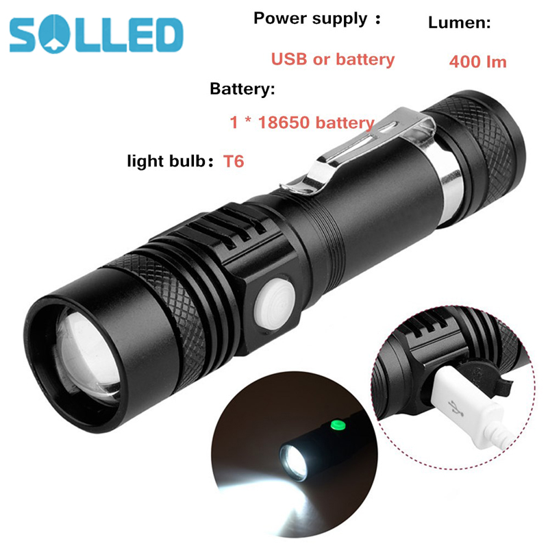 SOLLED USB Highlight Handy Powerful Alloy Flashlight Power Tips Aluminum Waterproof Zoomable Mini Flashlight 18650 Rechargeable