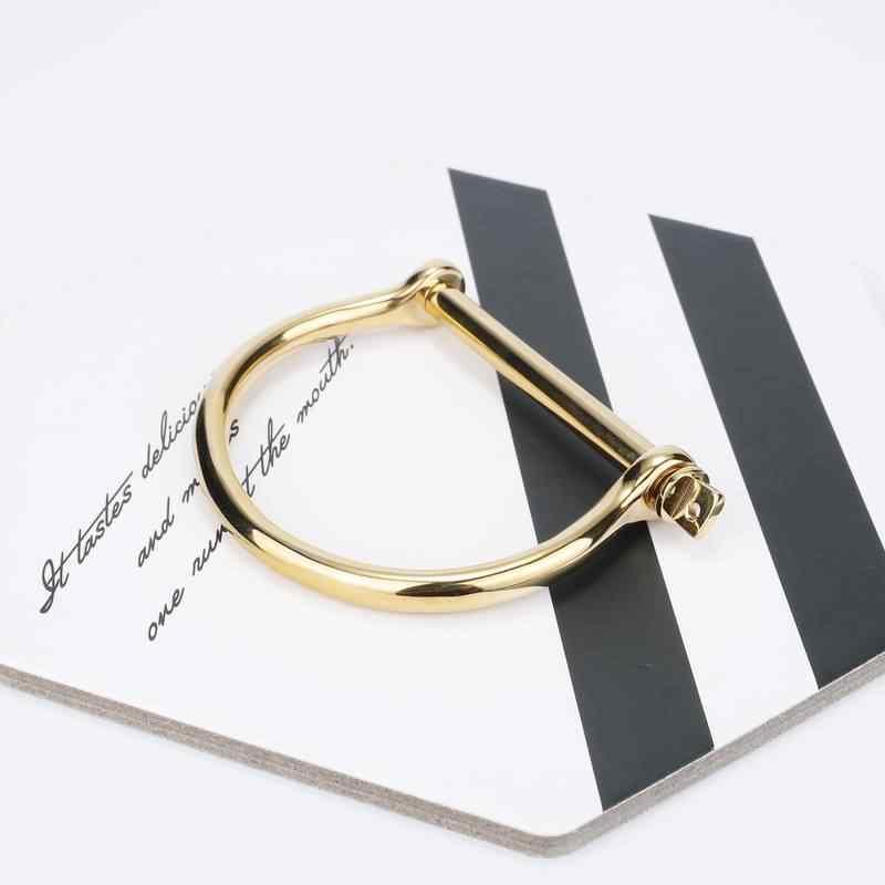 Ourania stal śruba stalowa bransoletka mankietowa szekla U Punk złota podkowa bransoletka kobiety mężczyźni moda