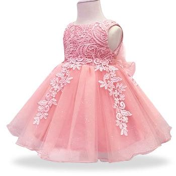 b8e1e5707 Baby Girls vestido de encaje flor bautizo bautismo recién nacido niños niñas  1yrs cumpleaños princesa traje infantil