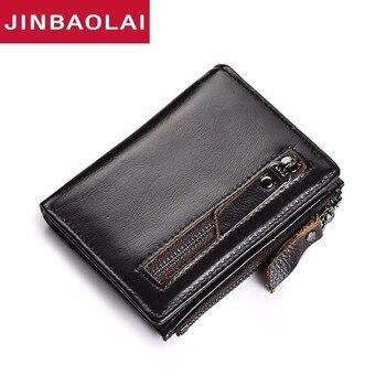 3 Color Men Wallets Male Purse Genuine Leather Wallet With Coin Pocket Zipper Short Credit Card Holder Wallets Soft Slim Wallets фото