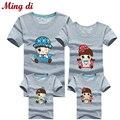 Ming Di Verão Estilo Mais Cores Olhar Família 95% Algodão T camisas Família Combinando Roupas Pai & Mãe & Crianças Outfits roupas