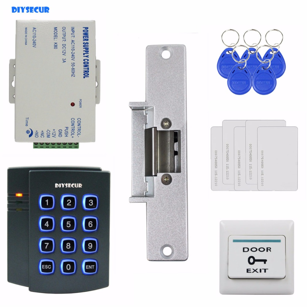 DIYSECUR Strike Lock 125KHz RFID ID Card Reader Password Keypad Access Control System Security Kit waterproof touch keypad card reader for rfid access control system card reader with wg26 for home security f1688a