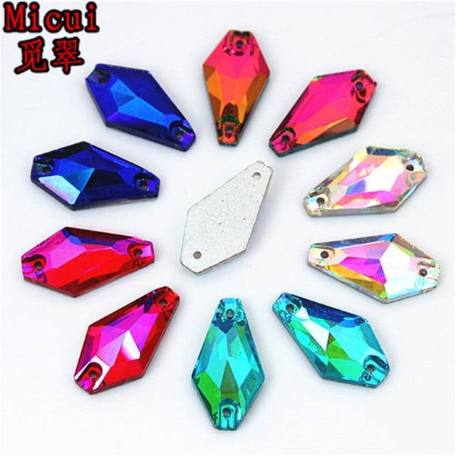 Micui 30 piezas 11*20mm coser en 2 agujeros cristales de cristal Hexagonal cristales de cristal para ropa vestido de joyería decoraciones ZZ152