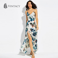 Vintacy Sexy Print Dress Sleeveless Spaghetti Strap Deep V Neck Party Dresses Split High Waist Casual