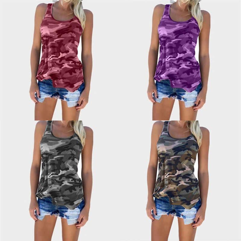 b8e47c6dbb659 ... Women Casual O-neck Striped Tank Tops Tee Camo Army Green Sleeveless  Girl T- ...