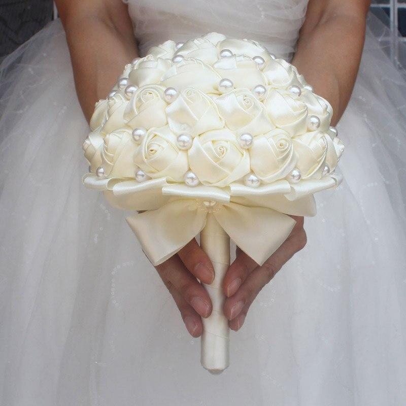 Image 3 - WifeLai A Pure Color Ivory Bridal Wedding Bouquet Cream Satin Rose Artificial Flowers Wedding Bouquet de novia On Sale W322 2bouquet de noviabridal wedding bouquetwedding bouquet -