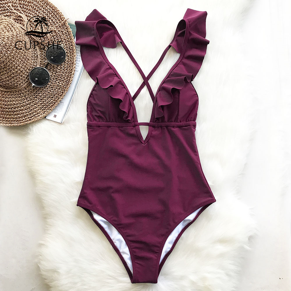 Burgundy Heart Attack Falbala One-piece Swimsuit Women Ruffle V-neck