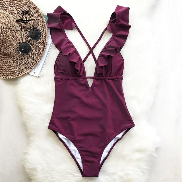 CUPSHE בורגונדי לב התקפה Falbala בגד ים מקשה אחת נשים לפרוע V-צוואר Monokini 2019 חדש בנות חוף רחצה חליפת בגדי ים