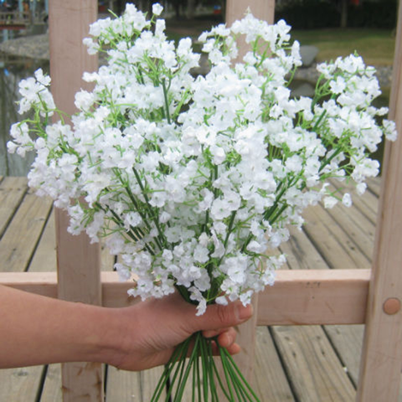 2 Pc Artificial Cloth Flower White Gypsophila Bouquet Babysbreath Wedding Plant Decor title=