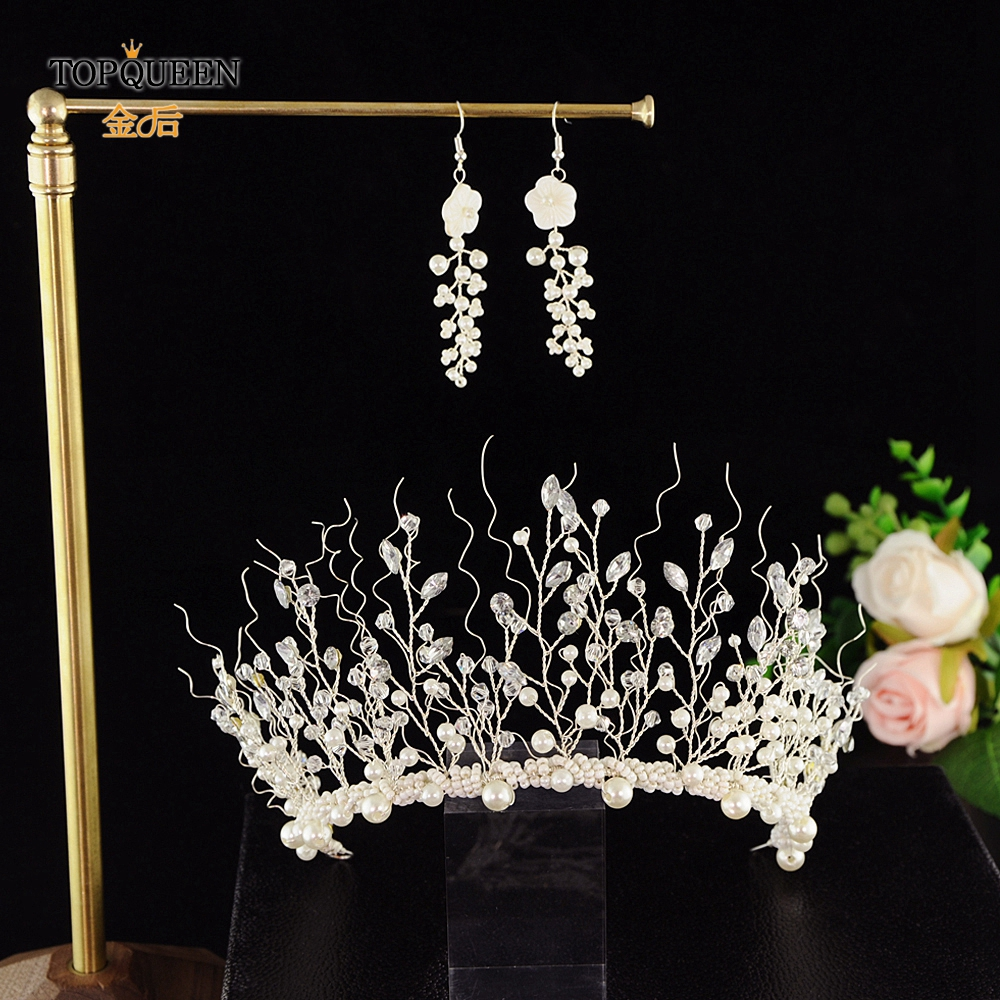 TOPQUEEN Wedding Crown With Pearl Rhinestone Wedding Tiara Hair Jewelry Handmade Wedding Hair Accessories Women Tiara HP198