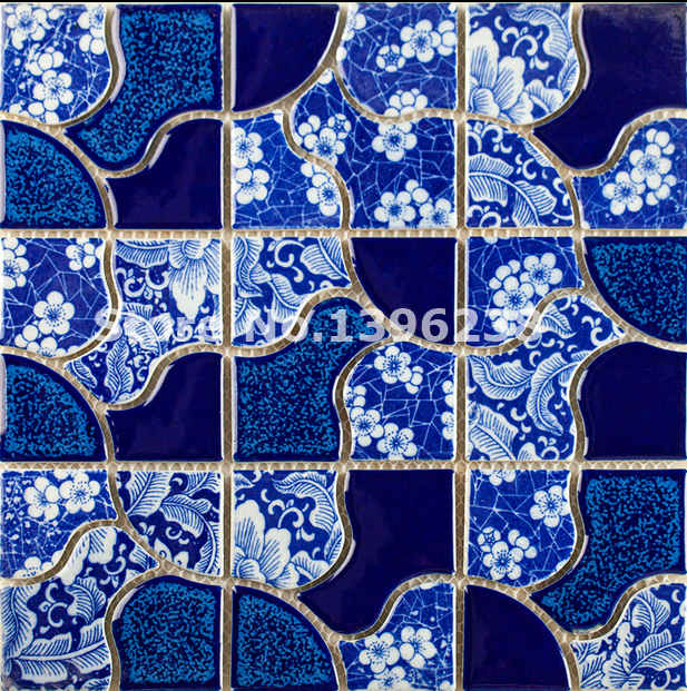 Hot Glazed Blue ceramic mosaic wall tiles,Kitchen/TV/Bath shower/background wall floor Artdecor mosaic wall tile sticker,LSQHC02 sea shell mosaic tiles seamless join natural pure white color kitchen wall mosaics tile hot sale free shipping