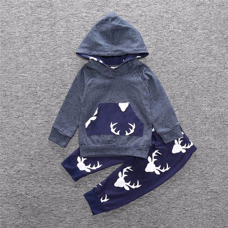 Infant Clothes Baby Clothing Sets Baby Boy Deer Long Sleeve Hoodie Tops Long Pants 2Pcs Outfits Set Clothes Newborn Baby Clothes