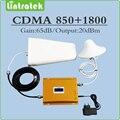 Reforço de sinal de celular CDMA DCS Repetidor de Sinal de Banda Dupla 850 MHZ 1800 MHZ Amplificador de Sinal kit conjunto completo com a Antena e cabo
