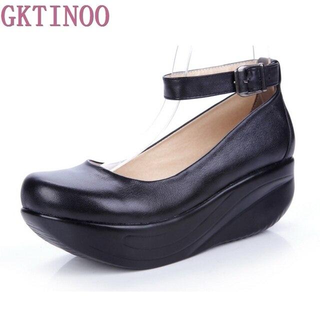 Новые женские туфли из натуральной кожи на платформе, черные женские  повседневные туфли на танкетке, b02901b14d2