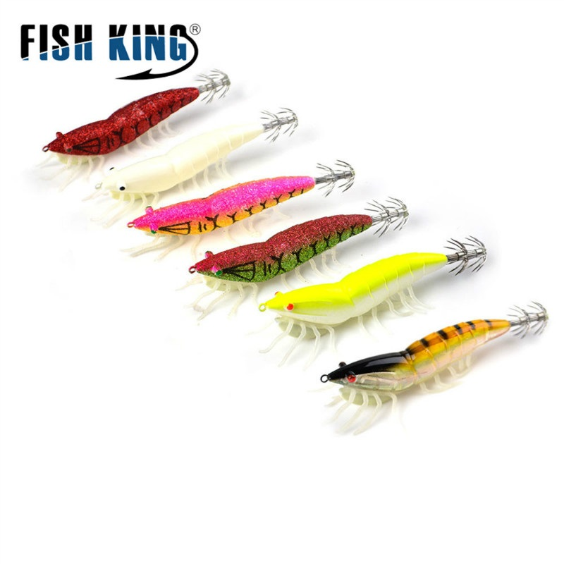 FISH KING 15g 20g Octopus Fishing Lures Luminous Hard Squid Jigs Shrimp Cuttlefish Squid Hook Rigs Artificial Bait Sea Fishing