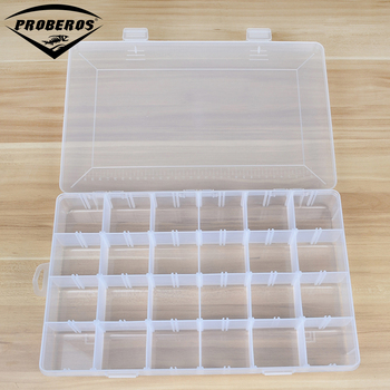 24 Compartment Plastic Fishing Tackle Box For Fishing Lures 37.5X23X5cm Fishing Accessaries Hooks Spoons Transparent