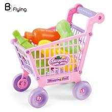 Kids Play House Toy Simulation Shopping Cart Vegetables Fruits Set Kids Cute(China)