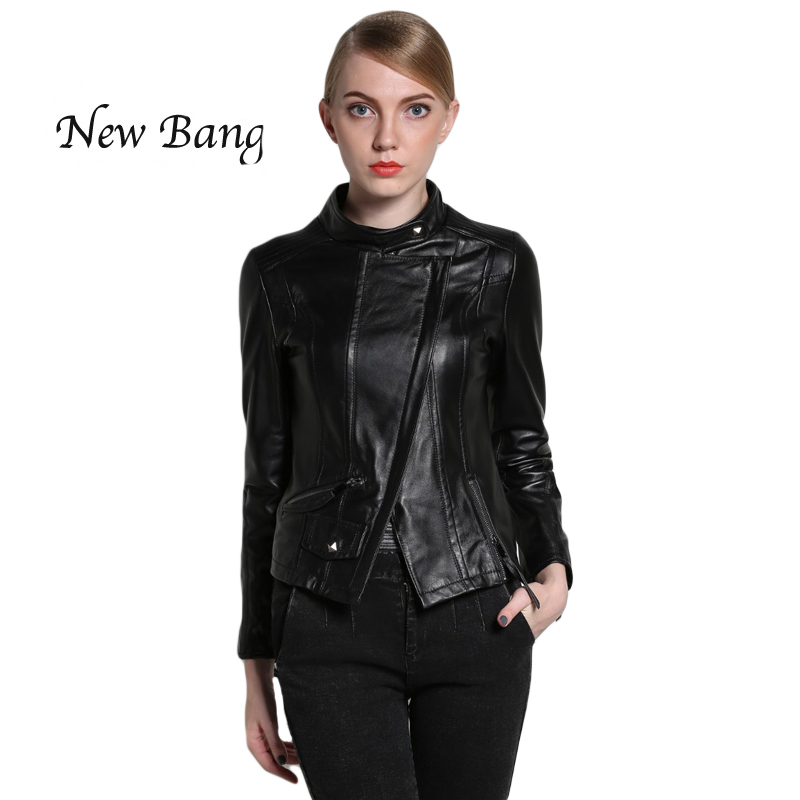 2017 Fasion Spring Women's Genuine Leather Jackets Sheepskin Leather Zippers Long Sleeve Mandarin Collar Motorcycle Perfeco Coat