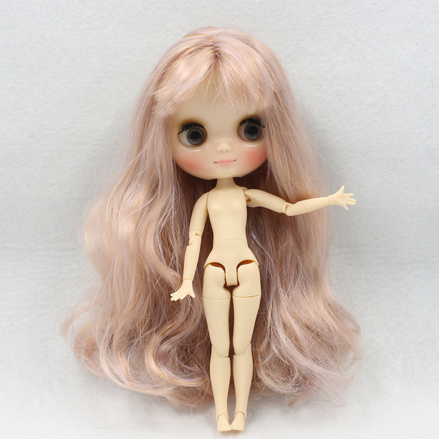 Blyth Doll middie nude doll Rose golden mix Purple hair joint body 1/8 20cm shine face joint body No.2240/1049