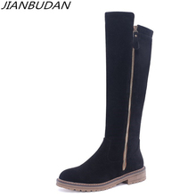 hot deal buy jianbudan/high quality material non-slip bottom knight boots woman autumn knee-high boots large size fashion long boots 34-43
