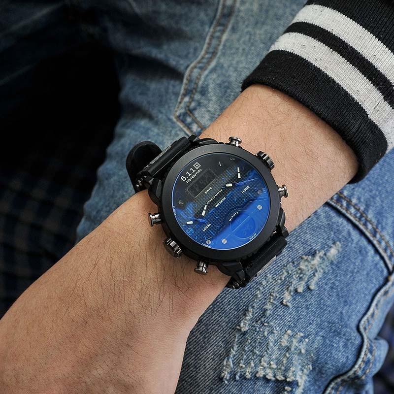 Brand Men's Watches New Big Men Black Dual Display Digital Quartz Wrist Watch Mens Sport Watches Waterproof Relogio Masculino