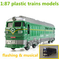 1:87 plastic trains  models,high simulation green paper train,inertial coasting ,toy vehicles,flashing & musical,free shipping