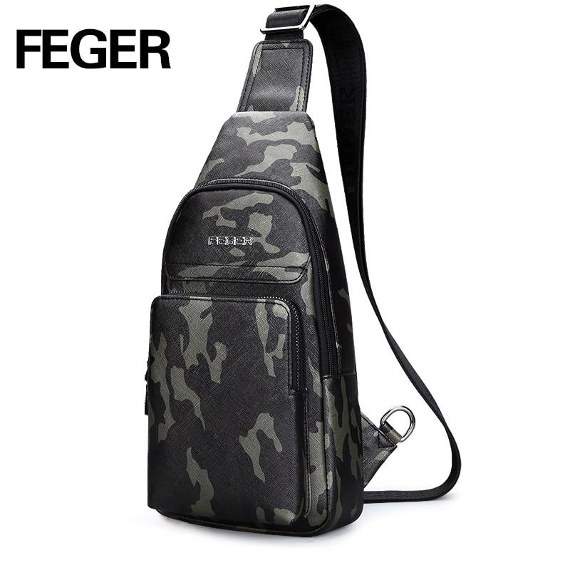 Feger Fashion Brand Men Chest Pack Handbag PU Leather Messenger Bag comouflage Crossbody Bags Sling Single Shoulder Strap