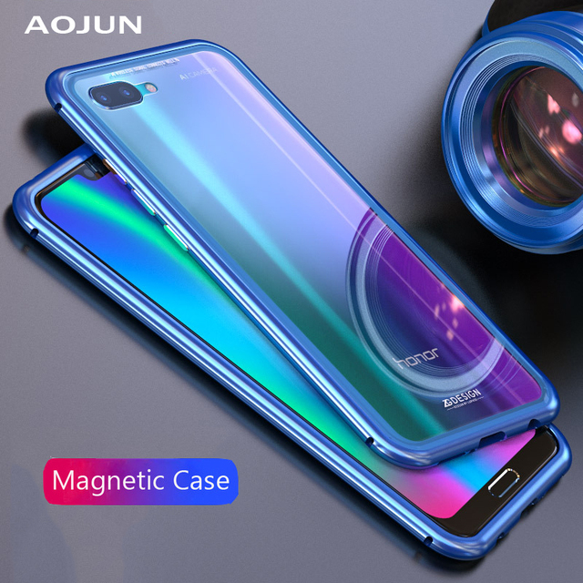 more photos a3b33 4fc21 US $11.27 9% OFF|Aojun Ultra Magnetic Adsorption Phone Case For HUAWEI  Honor 10 Metal Absorption Back Glass Cover Case For Honor 10-in Phone Pouch  ...