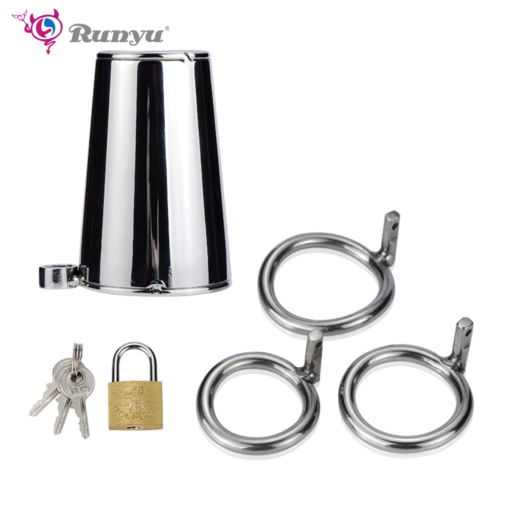 Vibrators Runyu 40/45/50mm Lockable Penis Lock Stainless Steel Cock Cage Penis Metal Ring Chastity Device Tool Sex Toy For Men Basket Home Bright And Translucent In Appearance