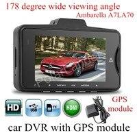 New GS98C Ambarella A7LA70 Car DVR Video Camera With GPS Module 178 Degree Wide Viewing Angle