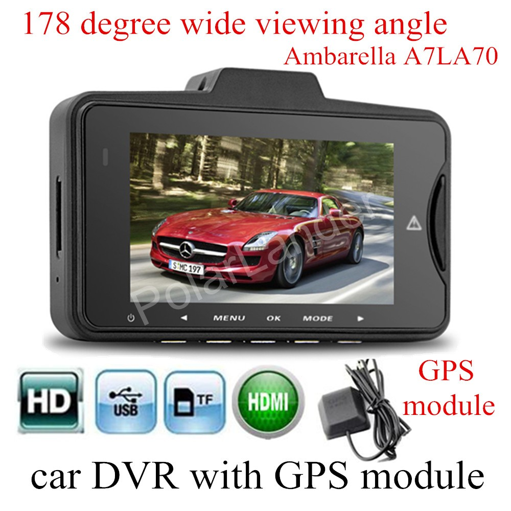 new GS98C Ambarella A7LA70 Car DVR Video camera with GPS module 178 degree wide viewing angle Camera recorder night vision