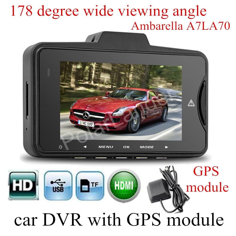 new GS98C Ambarella A7LA70 Car DVR Video camera with GPS module 178 degree wide viewing angle Camera recorder night vision