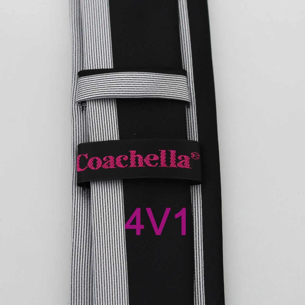 HUBUNGAN YIBEI Coachella Hitam Perak Kanan Kiri Kontras Kecil Bergaris Jacquard Dasi 6 cm Dasi Kurus Slim Neck Tie Partai Dresses
