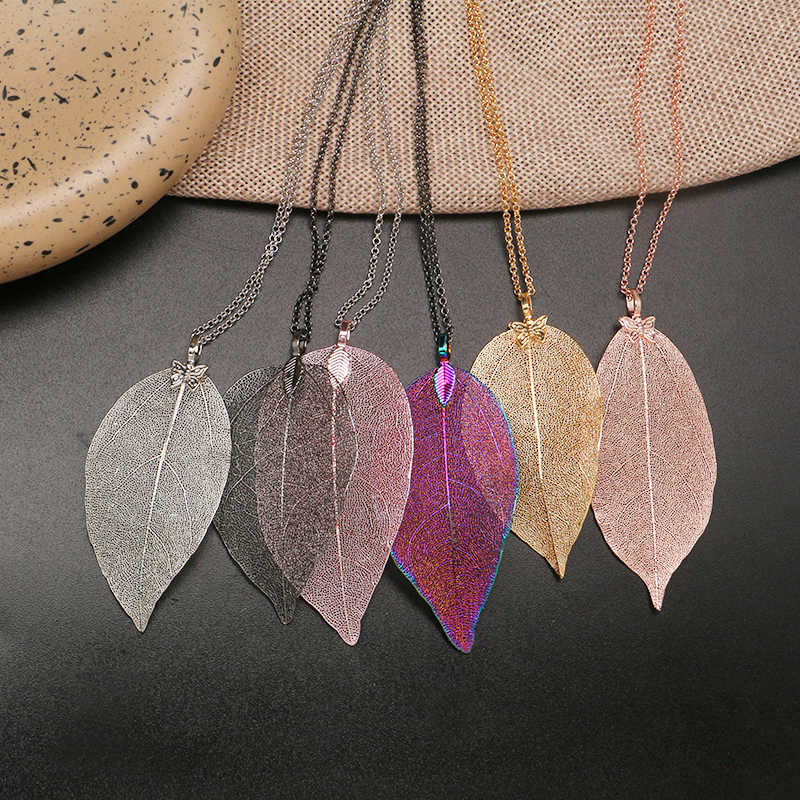 Fashion Natural Leaf Necklace Pendant For Women Handmade Real Leaves Necklace Female Collar Chain 6 Colors Jewelry Party Gift