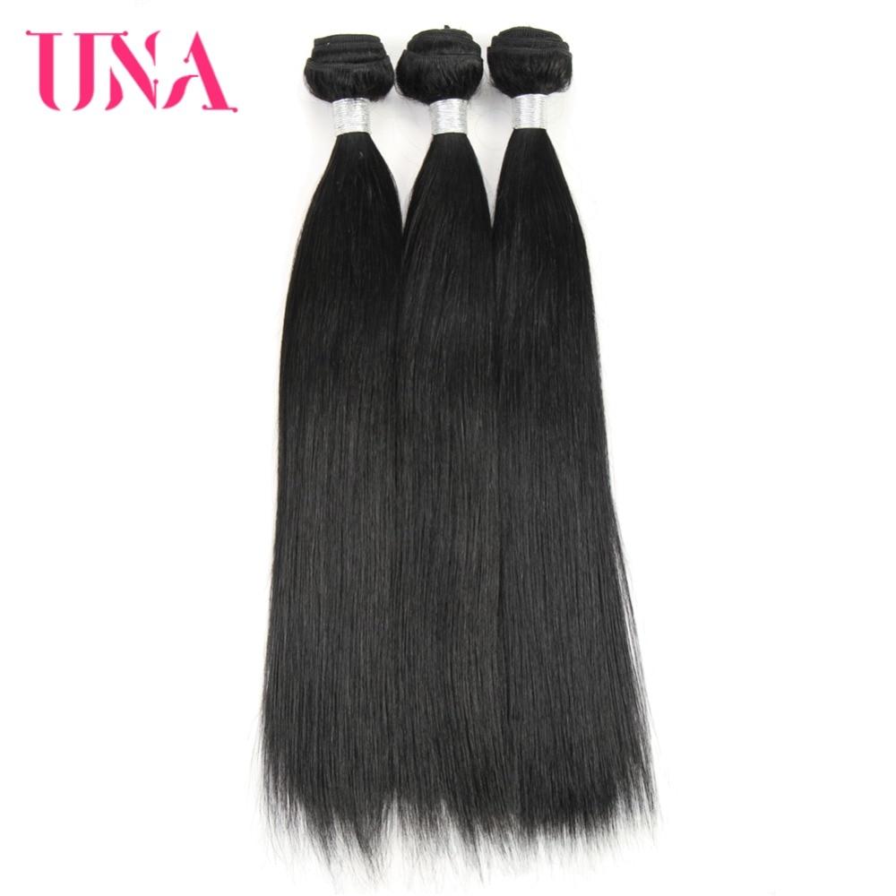 UNA Human Hair Weave 3 Bundles Deal Straight Hair Weave # 1 Brasilian - Menneskelig hår (for svart)