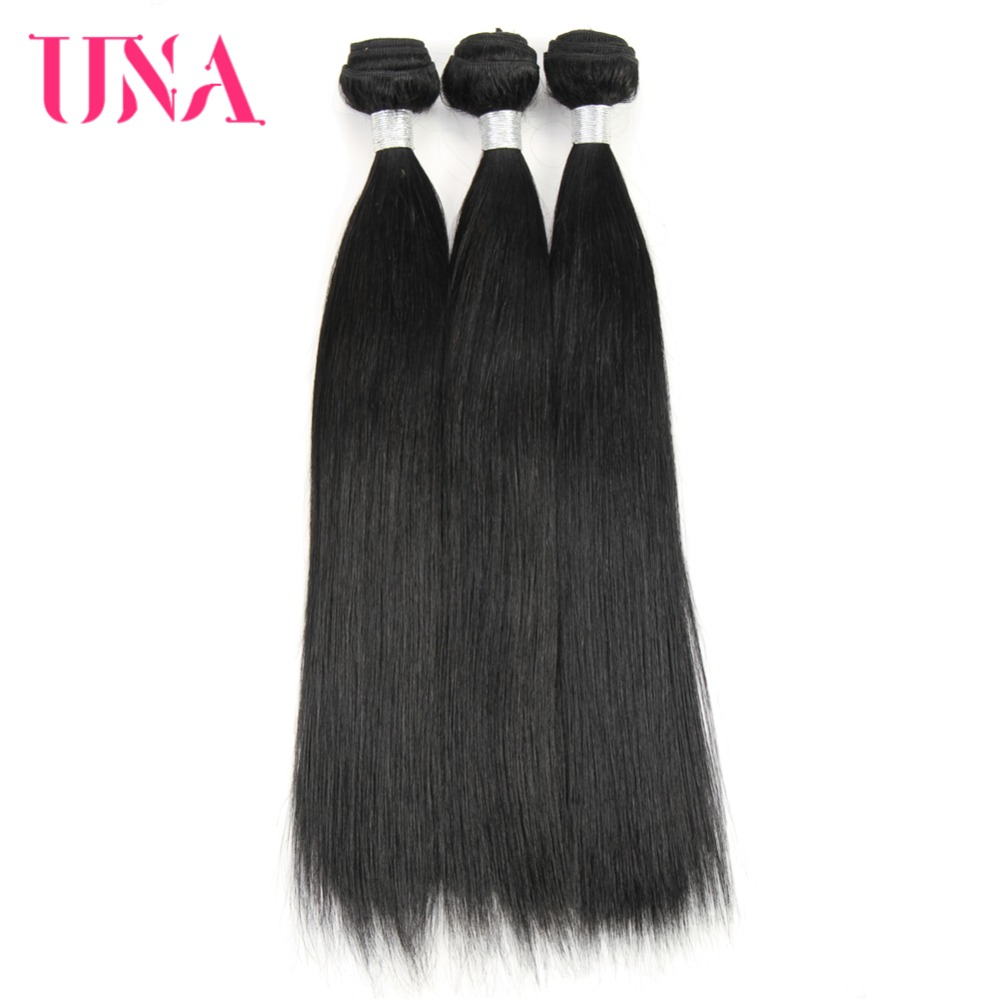 UNA Human Hair Weave 3 Bundles Deal Straight Hair Weave #1 Brazilian Human Hair Non Remy Hair Extension 10-26 Inches Available