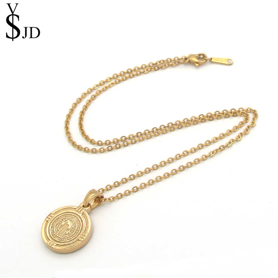 YSJD Religious Necklace Stainless Steel Jewelry Gold Round Catholic Patron  Saint St  Benedict Holy Medal Pendants & Necklaces