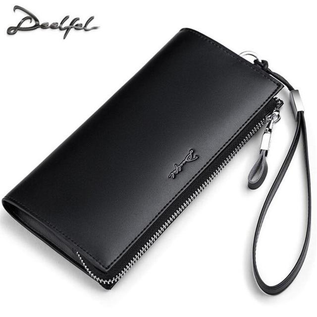 4bd38831be628 DEELFEL الرجال محافظ حقيقية محفظة جلدية الأعمال الذكور محفظة متعددة بطاقة  بت محفظة طويلة براثن حقيبة
