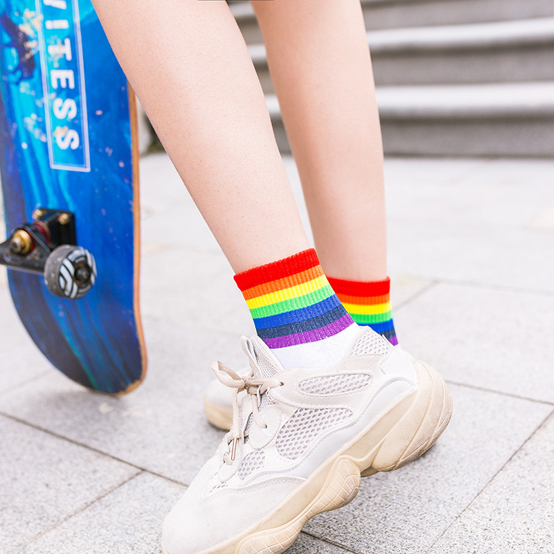 1 Pair Fashion Rainbow Short Socks Women  Autumn Winter New Unisex Cotton Striped Breathable cotton motion