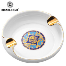 Flowing gold-rimmed printing glazed ceramic cigar ashtray AS-380-2